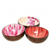 Kokosschalen Set Rosa/Orange